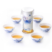 SET pot 6cups Black tea set glass set interaural pot tea device blue and white porcelain