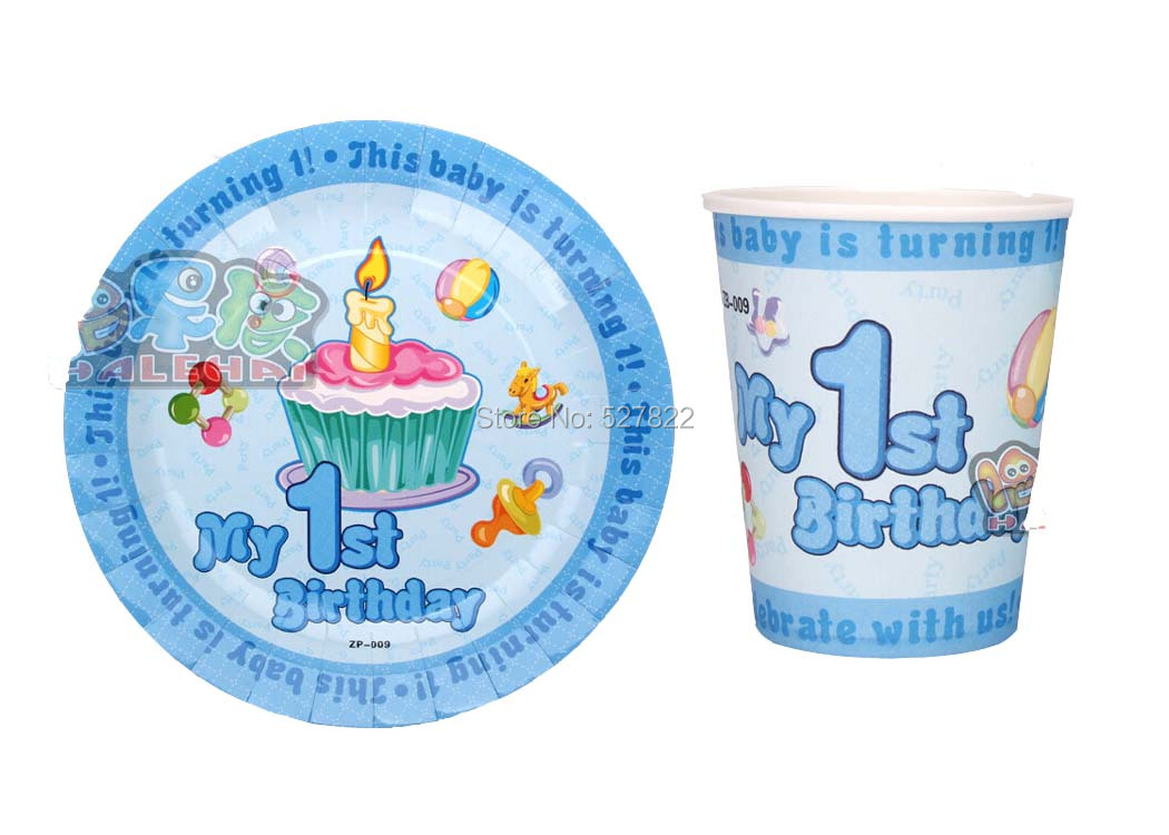 My 1st Birthday 100PCS(50 cups +50 plates) Bule Disposable Paper Plates and Cups For Children's Birthday Party Free Shipping(China (Mainland))