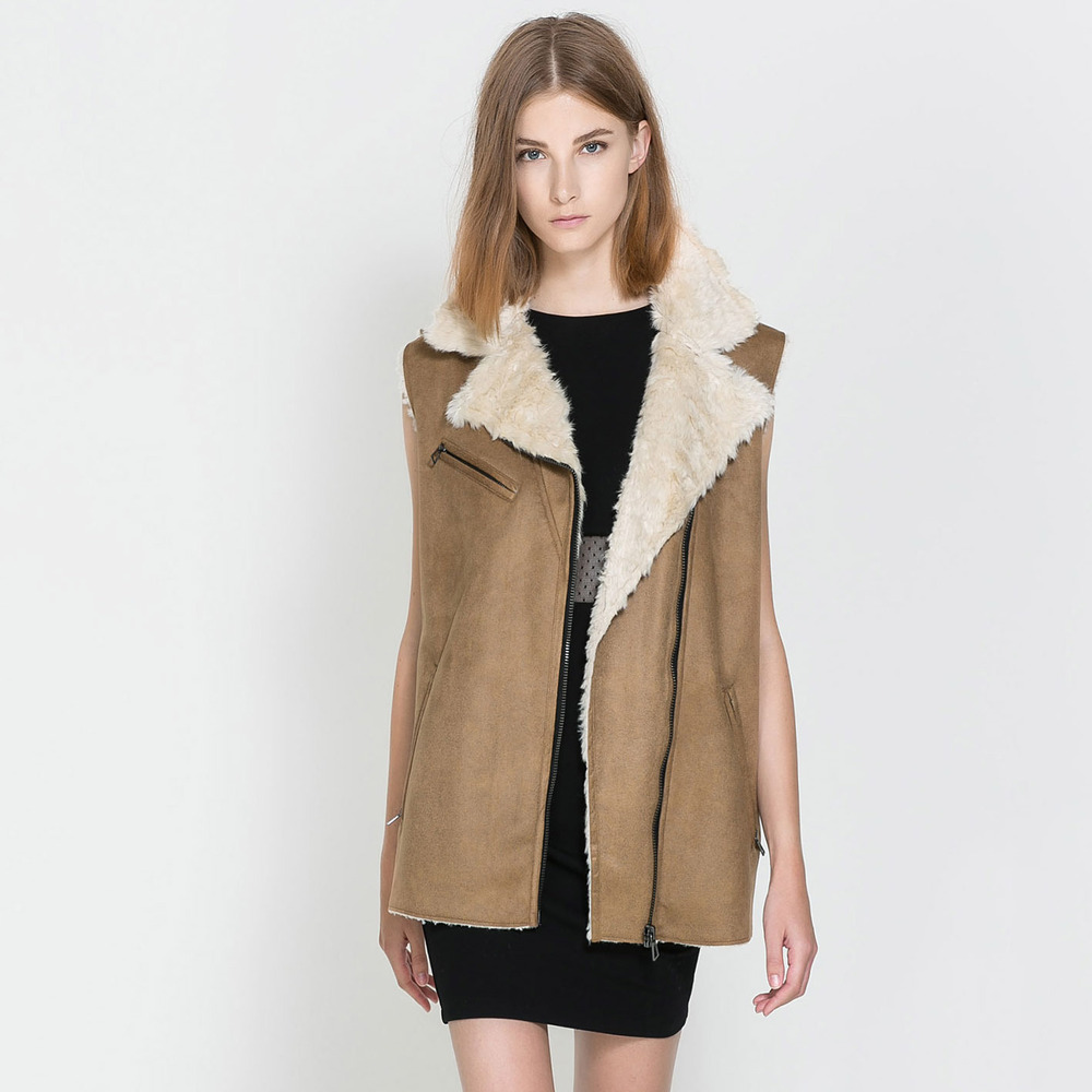 haoduoyi suede covered ramp zipper lambs wool sleeveless vest fur coat capable Cotton Flax - MX Modern Urban Leisure And Shopping Center store