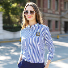 New 2015 Women Blouse  Fashion Marine Striped Shirt  Spring Cardigan(China (Mainland))