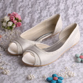 Wedopus Cream Lace and Satin Special Shoes Women Party Wedding Flats Open Toe