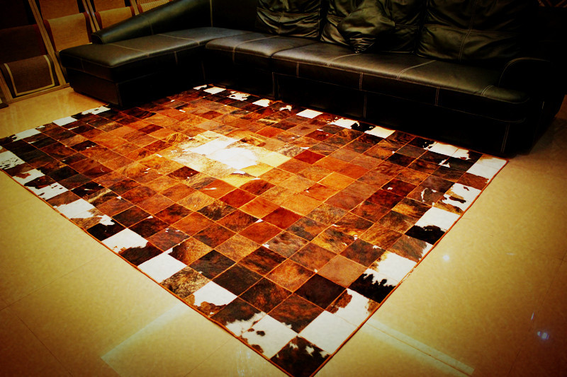 Free shipping 1 piece 100% natural cow leather floor mats for hardwood floors(China (Mainland))