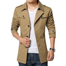 HOT SALE fashion men trench coat cotton blends male overcoat outwear coat jaqueta masculina M 3XL 4XL(China (Mainland))