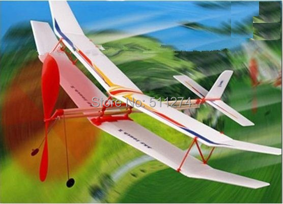Free shipping Rubber band powered biplane,DIY Toy,Model plane(China (Mainland))