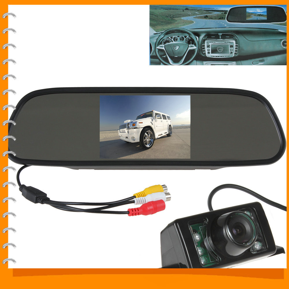 5 Inch Color TFT LCD Car Rear View Mirror Monitor Parking Wide View Angle + 7 IR Light Waterproof Car Rearview Reverse Camera(China (Mainland))