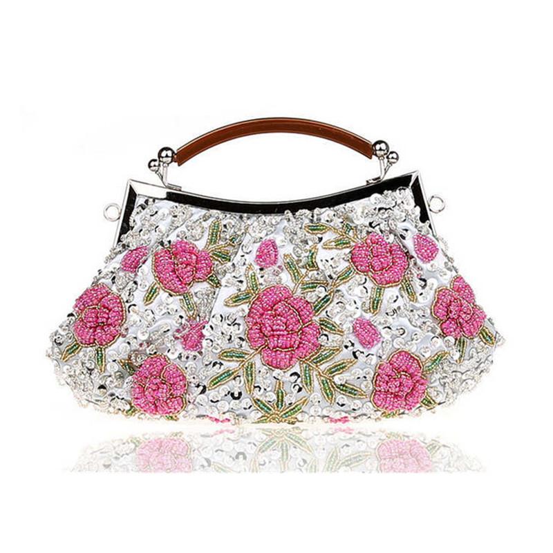 2017 New Embroidery Flower Evening Bag Beaded Clutch bags Wedding Bridal purse Pouch Handmade Beads Wristelets women bag