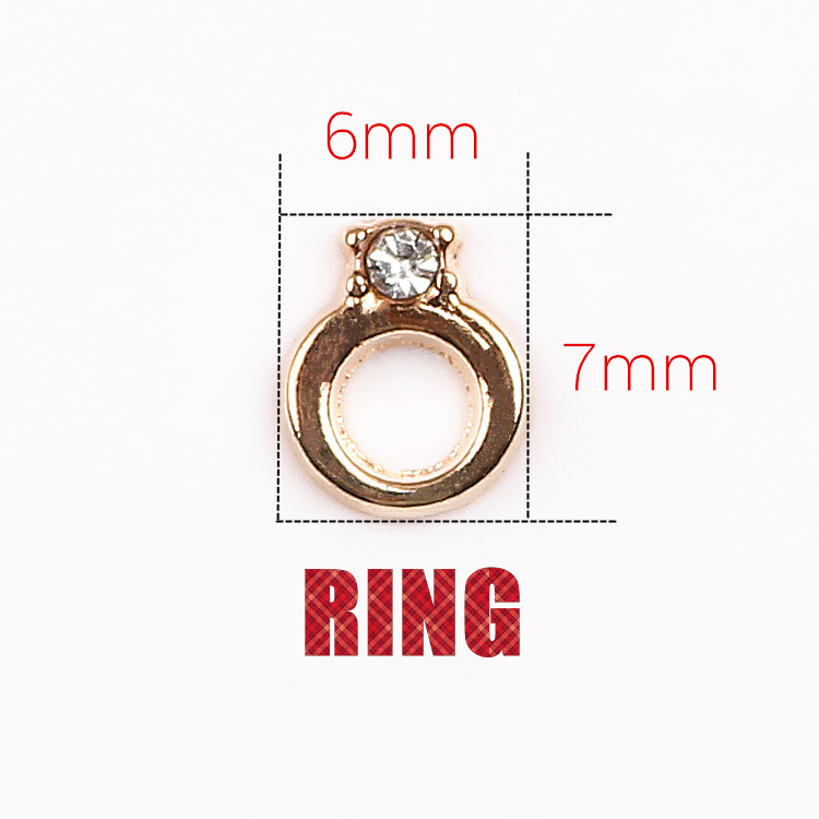 2016 Hot Wholesale 20pcs/Lot Ring Shape Floating Locket Charms, Imitated Diamond Ring Metal Charms, Handcrafted Jewelry(China (Mainland))