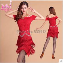 New adultes de style de danse latine costume de danse femmes lait de soie gland diamant robe de danse latine(China (Mainland))