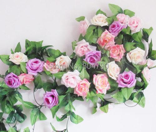 5pcs/lot 2.4m long wholesale price high quality rose artificial fake silk string flower wedding flower home hotel rattan flower(China (Mainland))