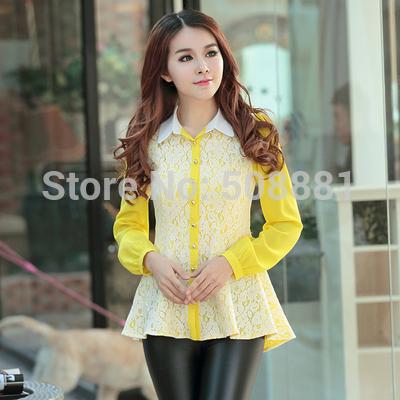 2015 New Lace Blouse Women Irregular Plus Size Woman Office Shirt WorkWear Tunic Lady Top Kimono white,black,yellow S,M,L,XL,XXL(China (Mainland))