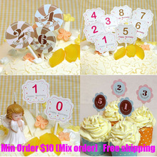 Cake flag No.0-9 decoration kids birthday party cake decorating supplies small digital greeting card min order 10$(China (Mainland))