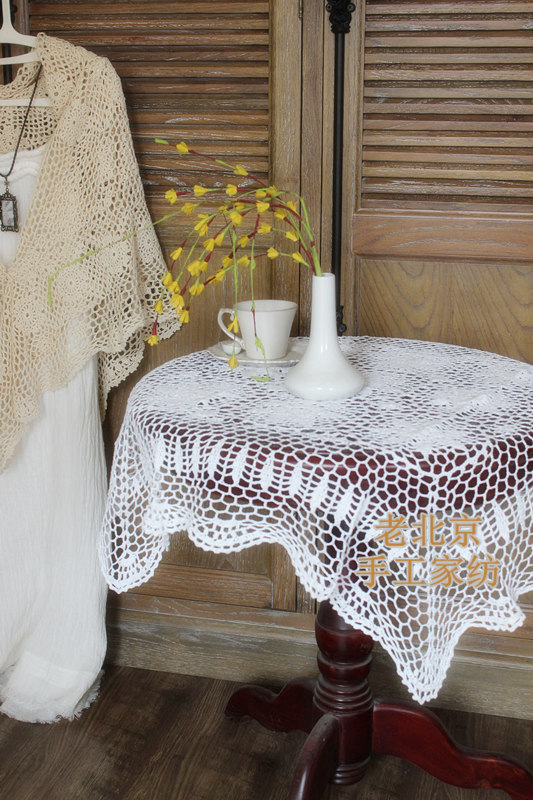Free Shipping cotton Handmade Crochet Pastoral Shabby Vintage Look Crocheted tablecloth tablecover Coffee tablecloth tea cart(China (Mainland))