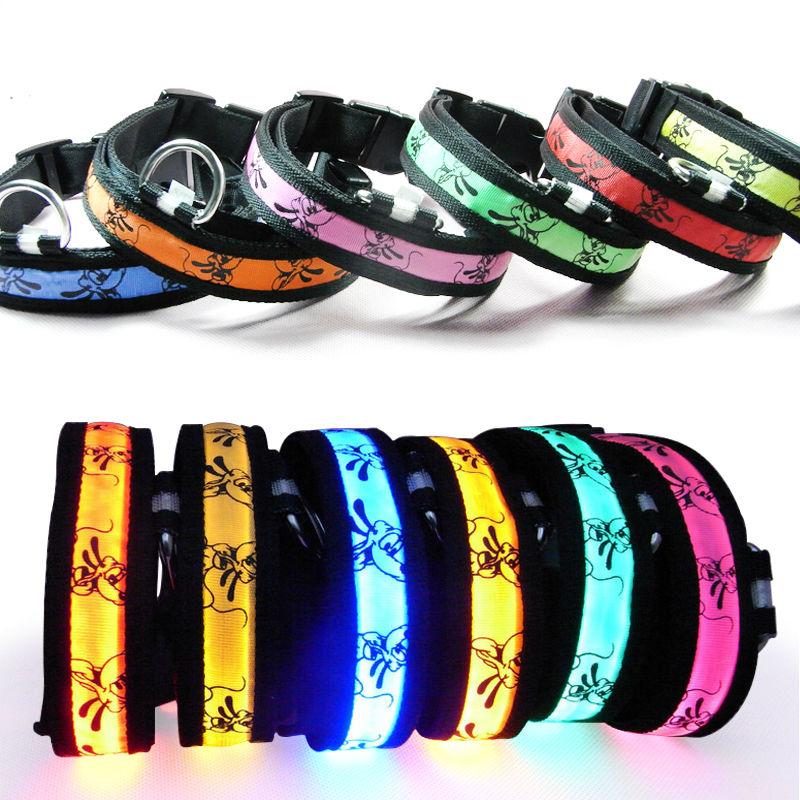 Cartoon Pet Dog Collars LED Light pet collar Luminous Fluorescent Collars Harness 7 colors free shipping(China (Mainland))