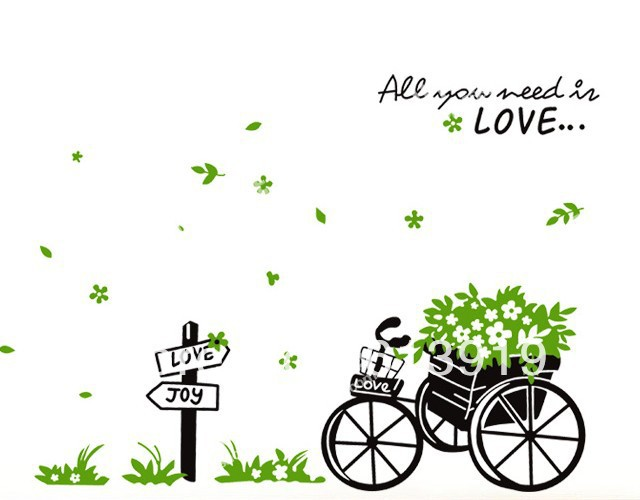"Happy Flower Bike "" Need Love"" Wall Stickers Home Decorating Decals Size 50*70cm - DIY Decoration Sky store"