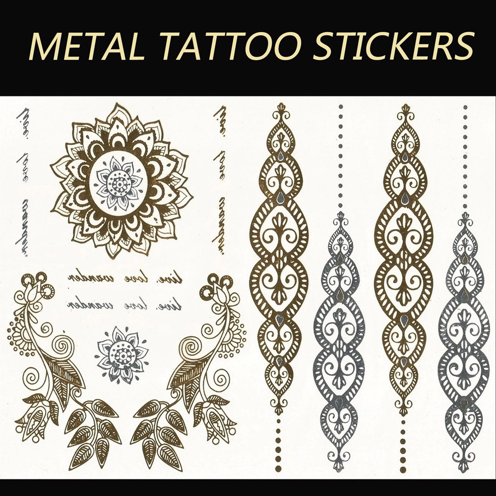 YS84 2015 new India metallic flash tatoo temporary stickers waterproof sexy tattoo body art Leaves VS