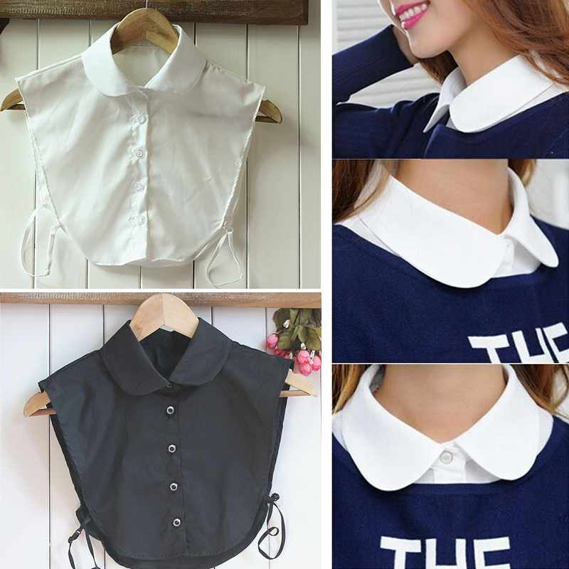 Hotsale Women White/Black Blouse Collapsible Collar False Detachable Collars