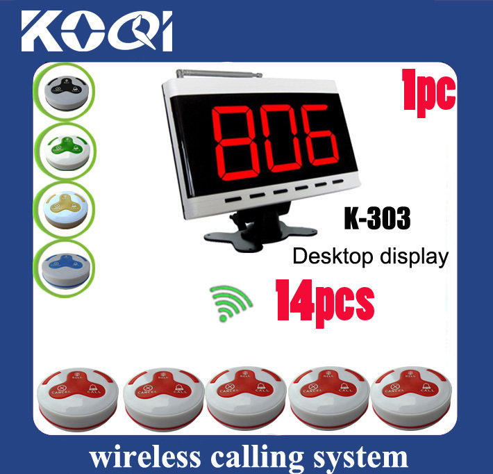 Restaurant Call System K-303 display and 14pcs K-H3 call bell button DHL free shipping(China (Mainland))