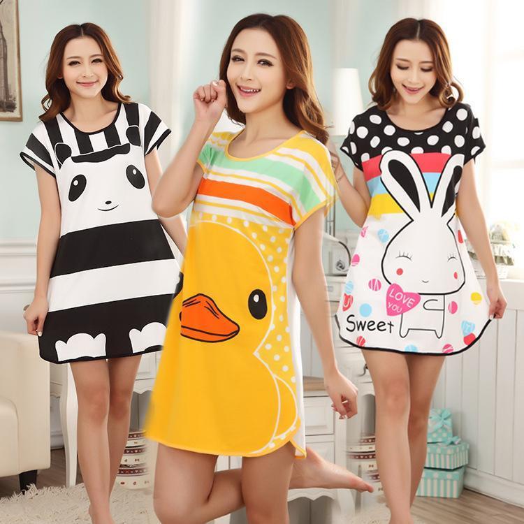 Animal Sleep tops Women Cartoon Panda Rabbit Mini Dress Casual Loose Cotton Long Big Size T-shirt Nightgown Sleepwear