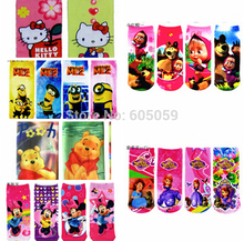 one pair one size 6 to 13 years polyester cartoon despicable me Masha bear Sofia Children's socks kids boy girls Gift uhu028