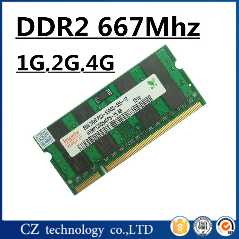 Hynix 1gb 2gb 4gb ddr2 667 pc2-5300 so-dimm laptop, ddr2 667MHZ 2gb pc2 5300 sodimm notebook, memoria ram ddr2 2gb 667 mhz sdram(China (Mainland))