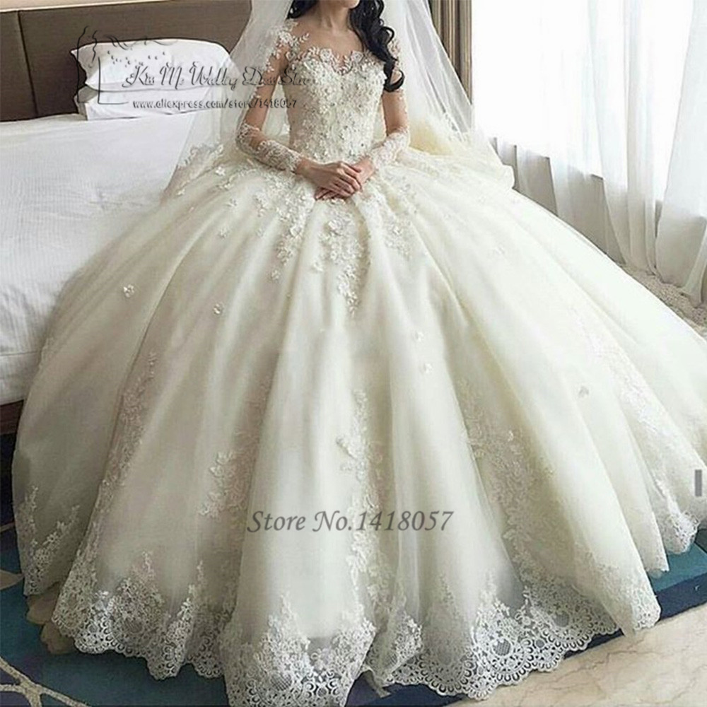 Church luxury wedding dresses long sleeve flowers ball for Dresses for church wedding