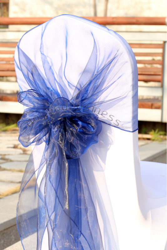 bodas chair decoration navy blue color 20pcs/lot wedding chair sash( 65cm*275cm) organza fabric chair hood(China (Mainland))