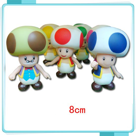 8CM Super Mario Bros 6colors style mushrooms Toad Kinopio Figures PVC action figures Models toys for kids with Box #D