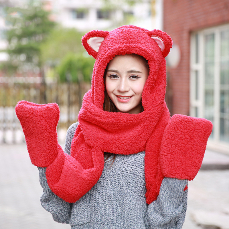 Winter Warm Cartoon Scarf Women New Fashion Korean Thickened Lovely Winter  Outdoor Warm Hat Scarf Gloves In One Piece SA18 7651e08d5cc9