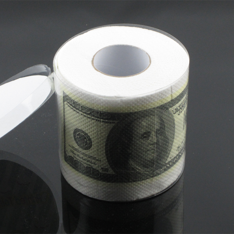 5 Pcs Money Toilet Washroom Paper Dollar Bill Banknote Printed Novelty Tissue Roll Gift(China (Mainland))