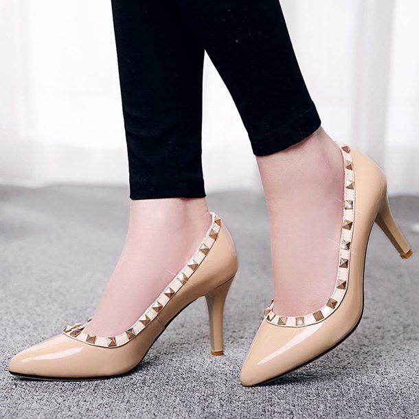 Fashion casual pointed toe Genuine Leather rivets red soles high heels women pumps black 4 colors women party shoes size:33-40<br><br>Aliexpress