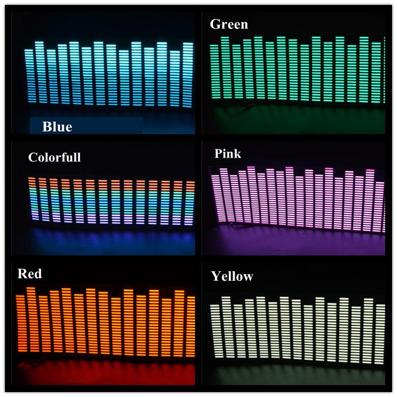 New 45*11 CM Colourful Music Rhythm Pattern Car Music EQ EL Sheet Windshield Sticker LED Flash Lamp Sound Activated LED Light(China (Mainland))