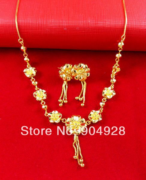 Africa Real 24K Yellow Gold Plated Necklace Earrings set ! Blacks Women Luxury Seven Flower Beads Pendant Jewelry A080 - Fashion Ennika CO.,LTD store