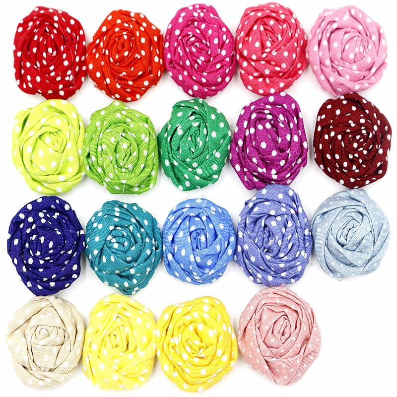 2015 Stock Handmade Fabric Roses Rolled Flowers Polka dots and Printted rose DIY flower For Baby Girl Headband Hair Accessories(China (Mainland))