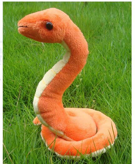 orange plush snake toy soft creative snake toy gift about 18x12cm(China (Mainland))