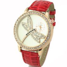 2015 nueva moda del reloj de la libélula patrón cristal de reloj de cuarzo analógico Casual reloj Relogio Feminino mujeres vestido reloj reloj