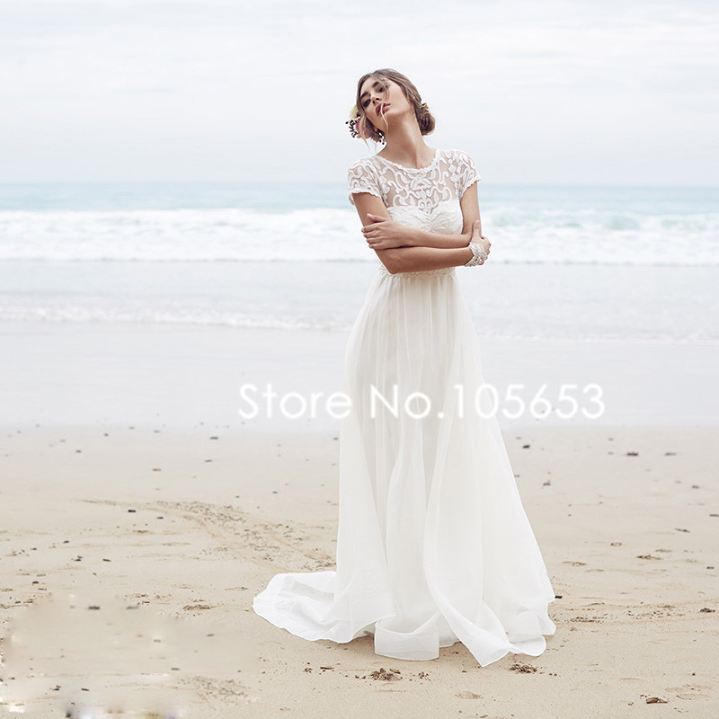 Short sleeves long lace beach wedding dress simple boho for Short wedding dress for beach