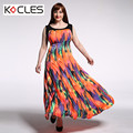 Plus Size 6 7XL Women Summer Bohemian Elegant Maxi Fit and Flare Print Patchwork O Neck