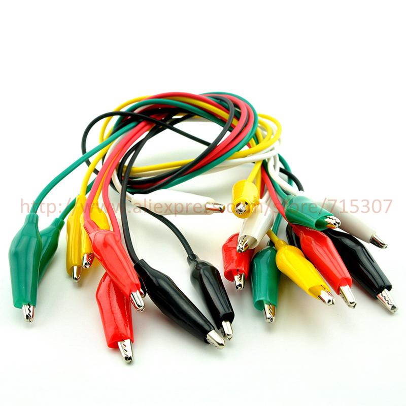 Гаджет  10pcs Double-ended Alligator clips cable length 45- 48cm Test Leads 5 colors test clips insulated crocodile clips None Электротехническое оборудование и материалы
