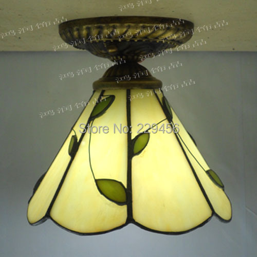 Tiffany Ceiling Light Stained Glass Lampshade Fresh Country Style Bedroom Lamparas Luminaria E27 110-240V(China (Mainland))