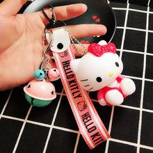 Bonito Olá Kitty Anel Chave Chaveiro Mulheres Anime Kt Gato Crianças Brinquedos Do Carro Da Corrente Chave Chave Titular Chaveiro Wrist Band corda Presentes Da Corrente Chave(China)