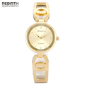 REBIRTH Luxury Brand Gold Watches Women Clock Bracelet Stainless Steel Connection Leather Watch Ladies Relojes Mujer