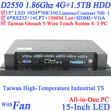 15 Inch industrial touch all in one pc computer with 5 wire Gtouch industrial embedded pc with 4: 3 6COM LPT 4G RAM 1.5TB HDD(China (Mainland))
