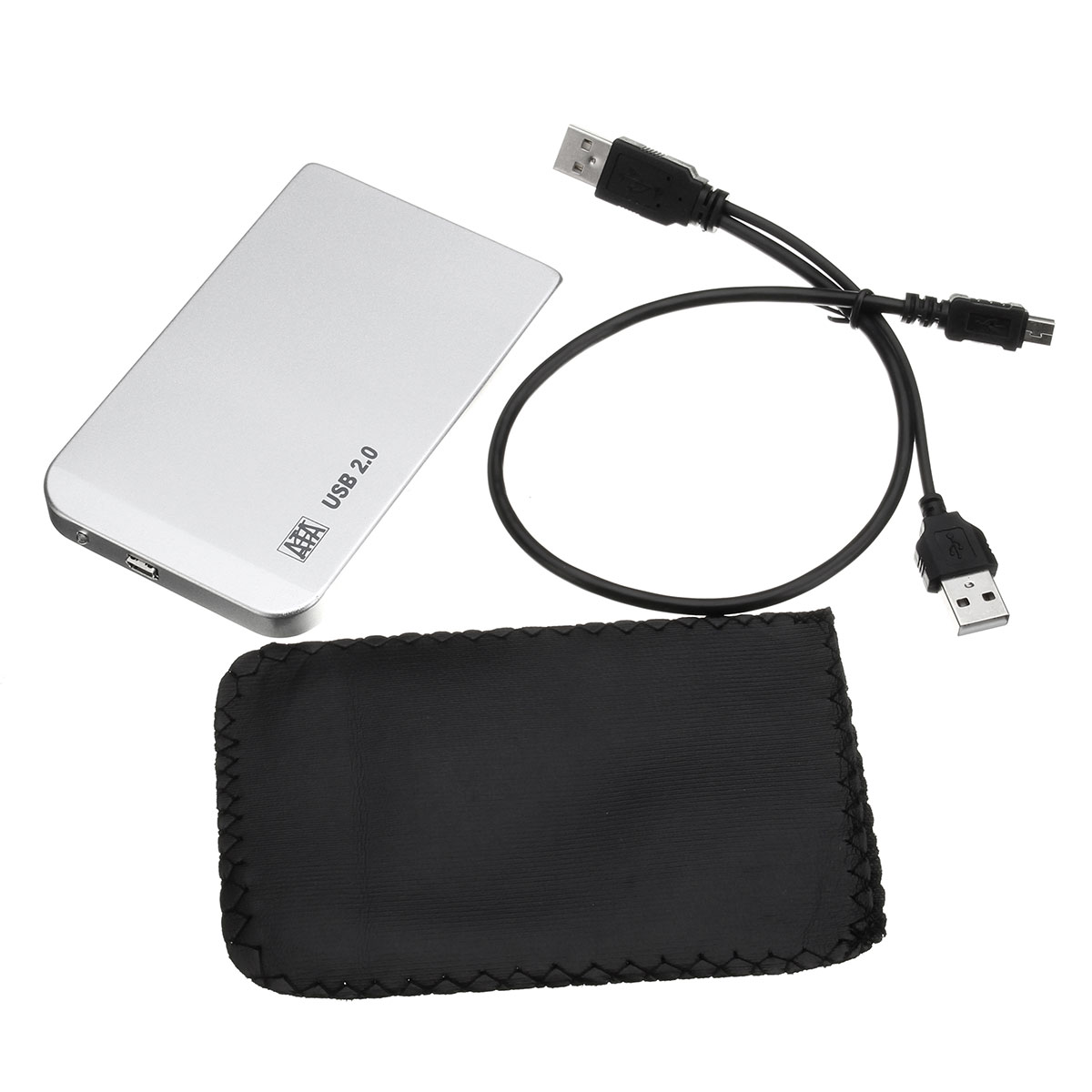 Silver USB 2.0 SATA HDD Enclosure 2.5'' IDE Hard Drive Disk HDD External Case Enclosure with USB Cable Aluminum(China (Mainland))