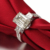 ZOCAI TRIO EMERALD CUT PAVE 2 CT NATURAL H / SI EMERALD CUT  18 K WHITE GOLD DIAMOND ENGAGEMENT RING W03757