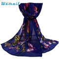 Womail Newly Design Women Fashion Butterfly Printed Soft Chiffon Scarf 170208 Drop Shipping