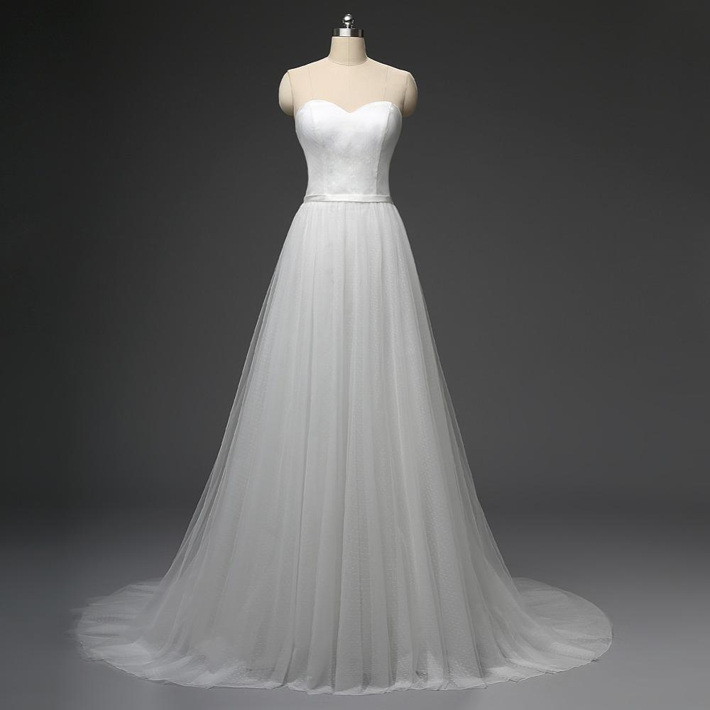 Buy real photo simple polka dot wedding for Real simple wedding dresses