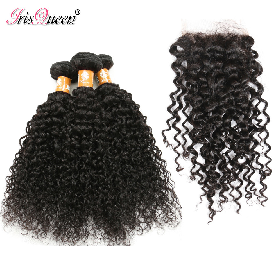 Brazilian Kinky Curly Virgin Hair With Closure 3 Bundles Brazilian Virgin Hair With Closure Human Hair Extension With Closure