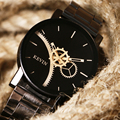Fashion Brand Kevin Women Watches Casual Black Round Dial Stainless Steel Band Quartz Wrist Watch Mens