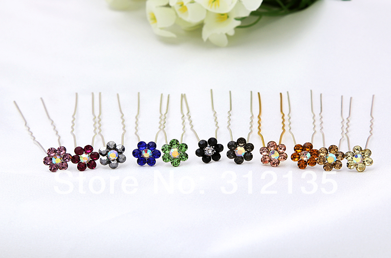 Wedding Bridal Crystal Flower Design Hair Pin Silver Plating Hairpin 7cm Mixed Colors 20 - Daisy Daily store