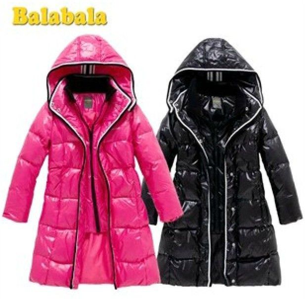 Высокое качество новый 2014 мода Balabala девушки зимнее пальто девочки пуховик средней длины толстую - большой пуховик